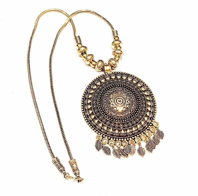 Ethnic Golden Necklace,Antique look Necklace,Traditional Indian Necklace Trendy Indian Oxidized Pendant Chain Necklace