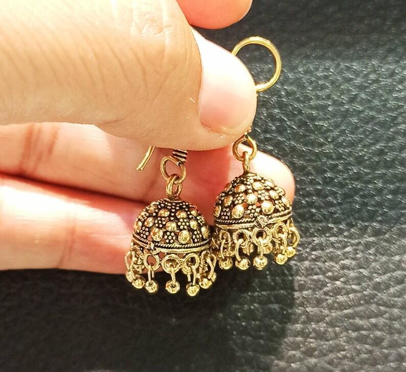 Small Golden Copper Jhumkas Earrings,Oxidized Golden Jhumkas,Traditional Regular wear Earrings