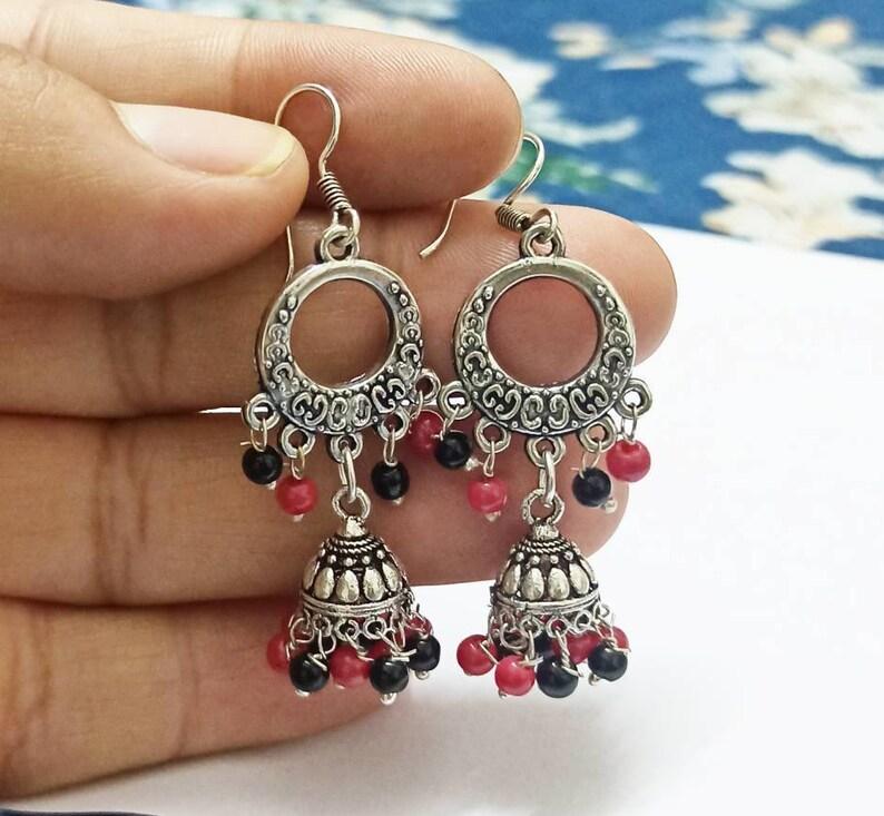 Black-Red Pearls Jhumkas Handmade jhumkas. Silver look Antique Jhumkas Earrings