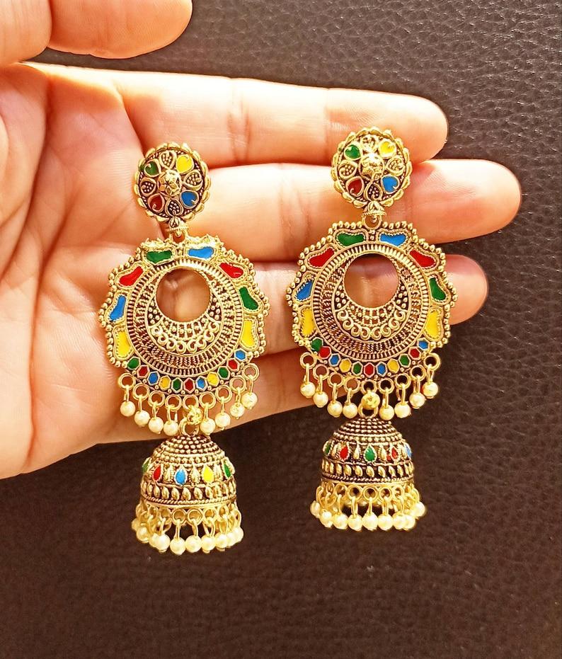 Handmade Earrings Anniversary Earrings Bollywood Golden Earrings wedding Chandbali,Traditional Earrings Indian Earrings