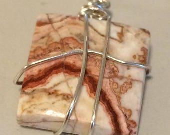 Picasso Creek Jasper Semi-Precious Stone, Sterling Silver Wire-Wrapped Pendant