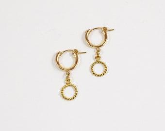 14k Double Hoop Gold Earrings