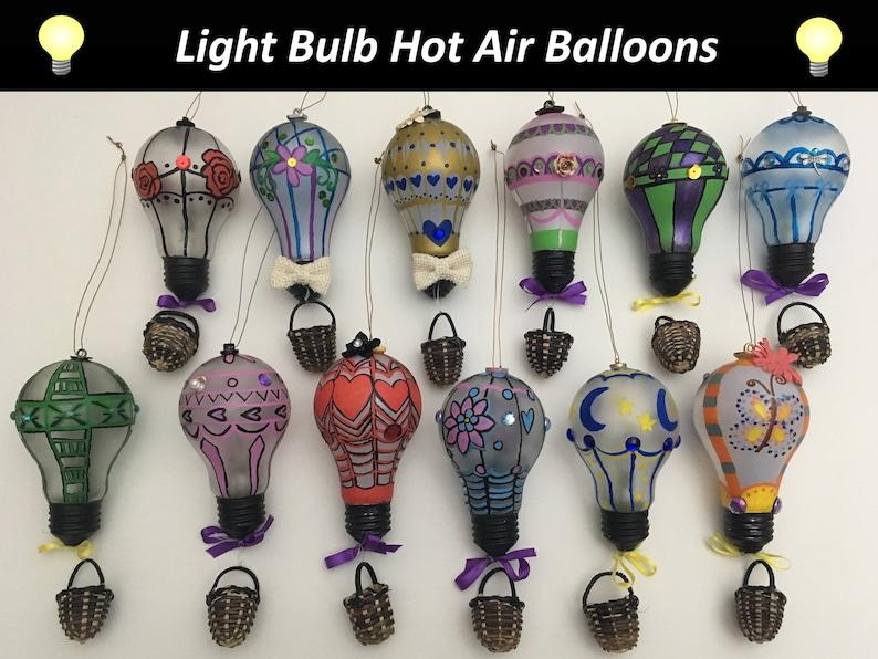 Hot air balloon light bulb ornament glass light bulb decor image 0