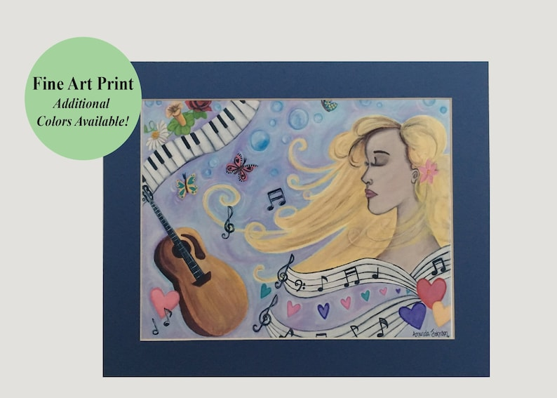 Music art print girl dreaming whimsical music art dreamy image 0