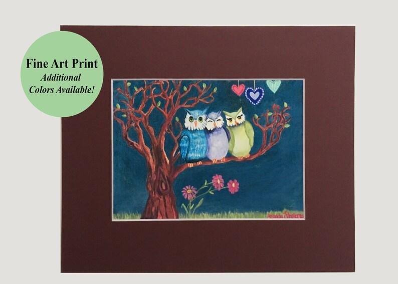 Owl tree print whimsical owl art owl friend wall art image 0