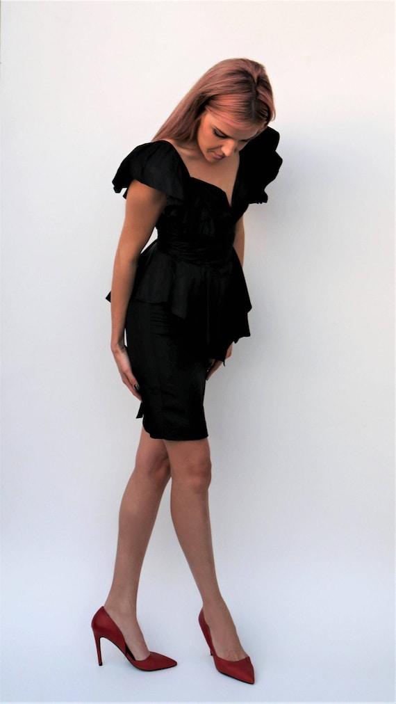 Vtg 80's Glam Black Evening  \\ Vintage Party Dre… - image 7