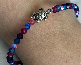 Pink, Purple, Blue Turtle Beaded Bracelet