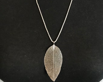 Silver Leaf Long Chain Necklace