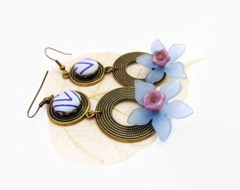 Statement Earrings, Flower Earrings, Fabric Earrings, Ethnic Style Earrings, Boho Earrings, Lucite Earrings, Blue Earrings, Gift For Her