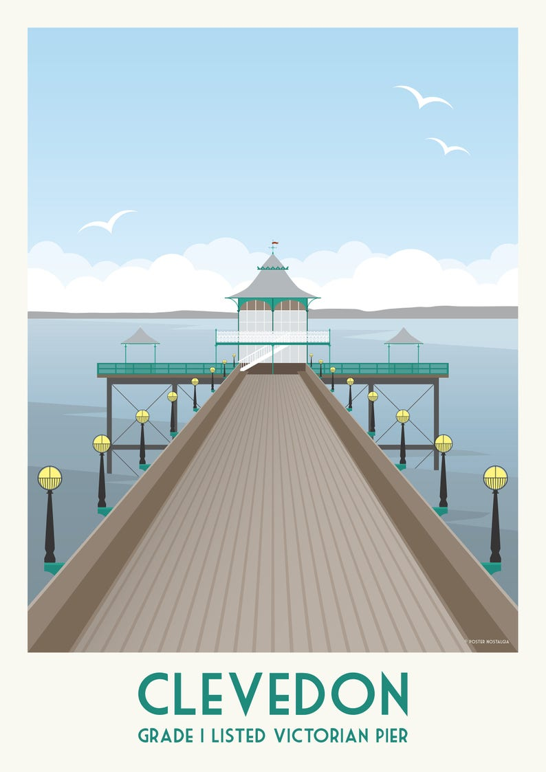Clevedon Pier Vintage Travel Style Poster image 0