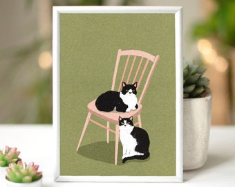 A5 Print Illustration Two Chilled Cats on an Ercol Chair Wall Art Poster