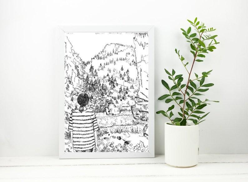 A Million Dots Pointillism Landscape Graphic Art Illustration Pen Art Abstract Art Wall Art Pdf Print Printable Poster