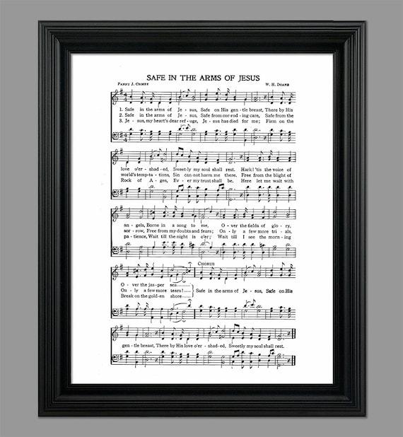 Safe In The Arms Of Jesus Lyrics Hymnal Sheet Sheet Music Etsy