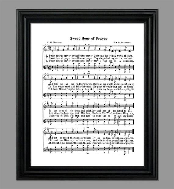 Słodki Godzinę Modlitwa Hymn Teksty Sheet Music Art Hymn Sztuki Hymnal Arkusz Home Decor Inspirujące Sztuki Instant Download Hymn 046