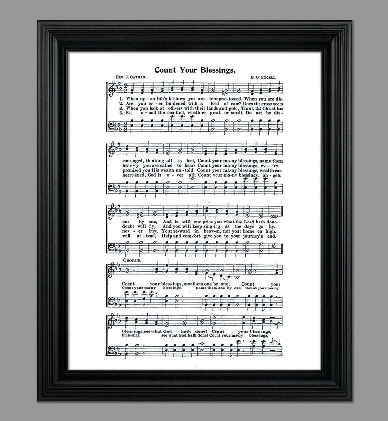 Count Your Blessings Hymn Print - Hymnal Sheet - Sheet Music- Wall Art -  Home Decor - Inspirational Art - Instant Download - #HYMN-070
