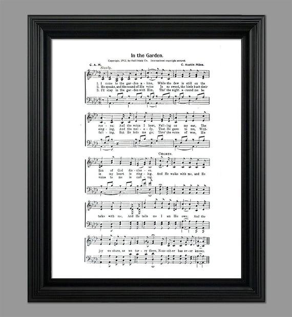 In The Garden Hymn Lyrics Sheet Music Art Hymn Art Etsy