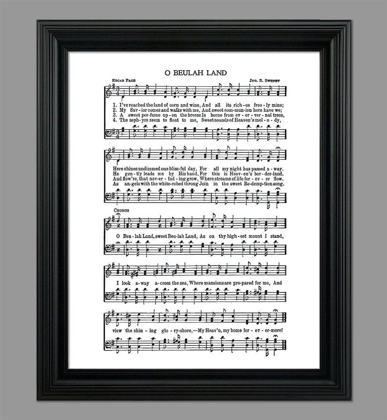 O Beulah Land Hymn Lyrics - Hymnal Sheet Sheet Music- Home Decor -  Inspirational Art - Gift - Instant Download - #HYMN-036