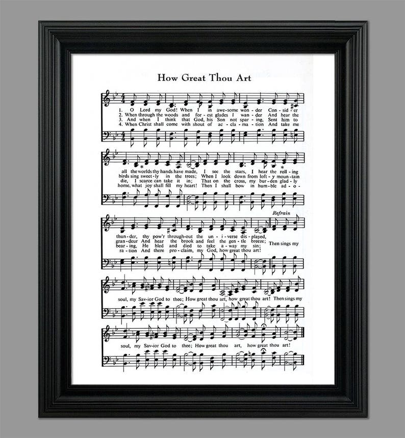 How Great Thou Art Hymn Lyrics - Sheet Music Art - Hymn Art - Hymnal Sheet  - Home Decor - Music Sheet - Gift - Instant Download - #HYMN-034
