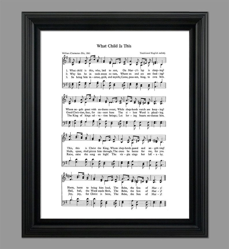 What Child Is This Christmas Song Lyrics Christmas Sheet Sheet Music Home Decor Inspirational Art Gift Instant Download Hymn 030