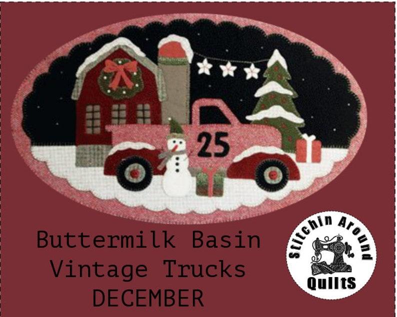 December Vintage Truck thru the Year Wool Appliqué Pattern Buttermilk Basin