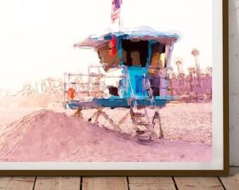 Beach illustration digital printable instant download