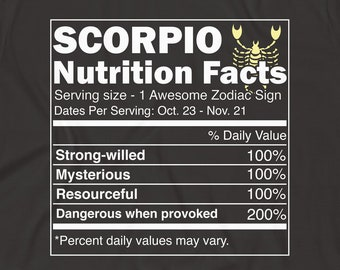 Scorpio Shirt Zodiac Gift Birthday Astrology Nutrition Facts