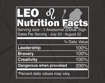 Leo Shirt Zodiac Gift Birthday Sign Astrology Symbol Nutrition Facts