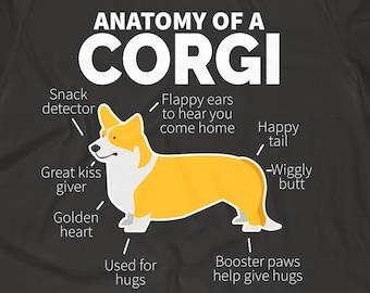 f86554252f2 Corgi Shirt Corgi Gift Dog Owner Gift Dog T-Shirt Corgi Owner Funny Corgi  Tee Corgi Lover Anatomy of a Corgi Men s and Women s T-Shirt