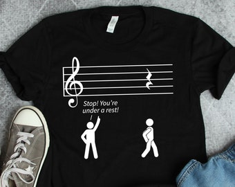 195ea79ca6 Musician Shirt • Stop Under A Rest • Band Shirt • Orchestra Shirt • Music  Gift • Musician Gift • Musical Shirt • Funny Band Gift