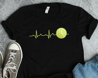 57165b6bcc Tennis Shirt • Funny Tennis Gift • Tennis Player Shirt • Tennis Heartbeat •  Gifts For Tennis Player • Tennis Coach T-Shirt • Sport Shirt