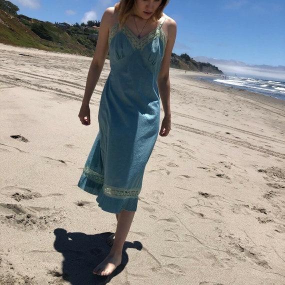 Vintage Val Mode Cotton Teal Slip Dress Lace V Nec