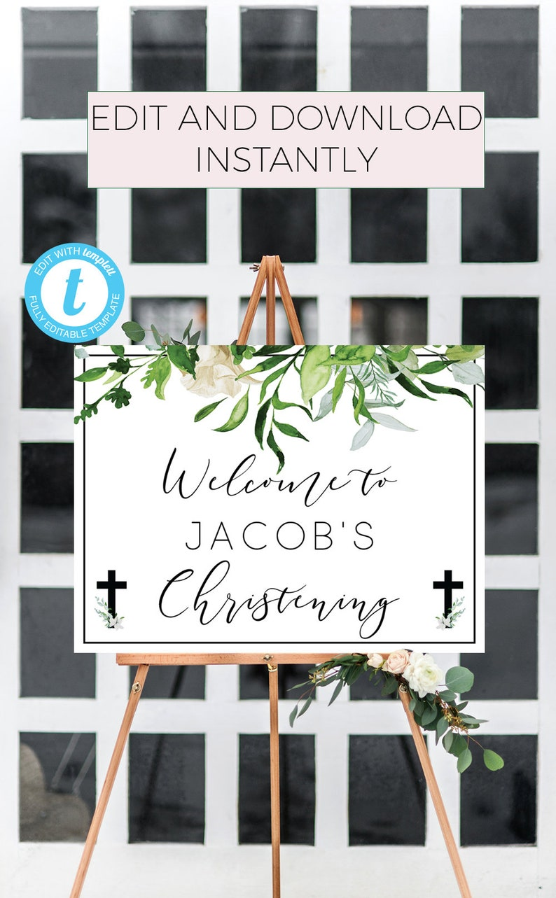 welcome to baptism Baptism Welcome Sign green Welcome Sign Template boy baptism welcome welcome to christening greenery baptism sign