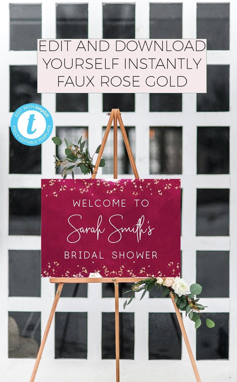 bridal shower decor bridal welcome sign shower welcome sign welcome bridal sign burgundy bridal shower rose gold bridal shower