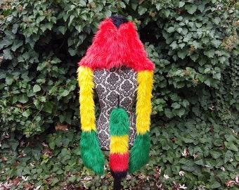 Rasta Spirit Hood with matching Tail, faux fur hoodie furry hood matching set rasta colors