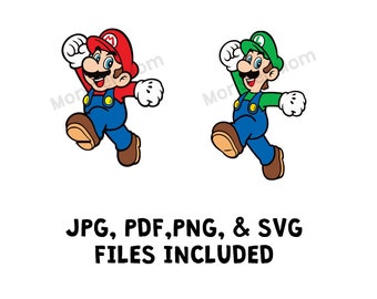 Bowser design Princess Peach Super Mario and Luigi Super Mario Mario svg Luigi svg Luigi PNG SVG separated in layers.