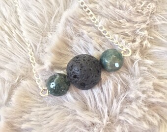 Handmade Diffuser Necklace with Moss Agate