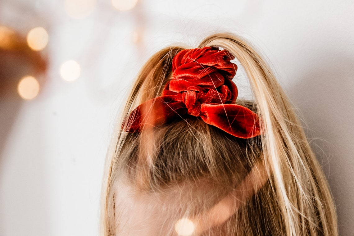 Burnt Orange Scrunchie  Christmas Scrunchie Bow  Velvet image 0