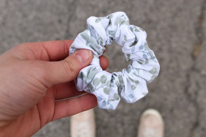 White Floral Scrunchie  Dusty Blue Floral Scrunchie  image 0