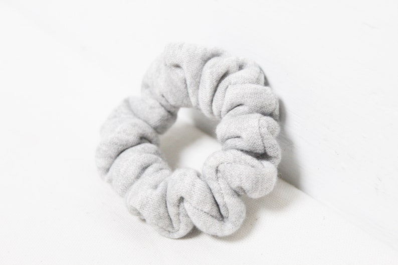 Gray Skinny Scrunchie  Knit Scrunchie  Mini Scrunchie  image 0