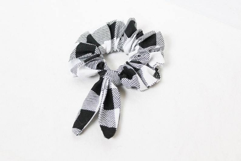 Plaid Scrunchies Black and White  Best Gift For Fall For image 0
