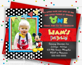 Mickey Mouse First Birthday Invitations Invitation Etsy