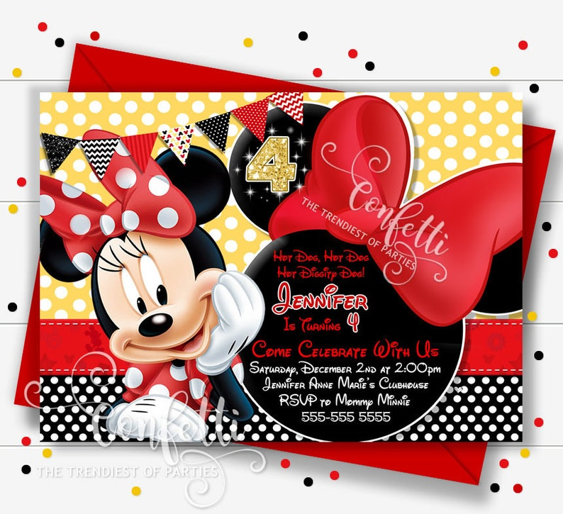 Minnie Mouse Clubhouse Birthday Invitation Red Yellow Black