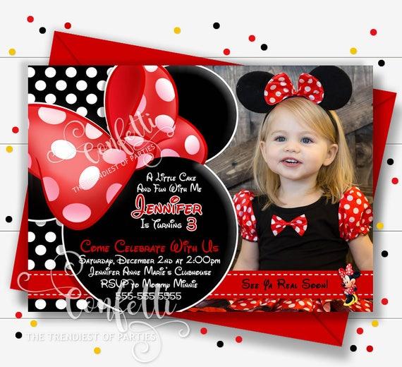 Minnie Mouse Invitation Red Yellow Black Polka Dot