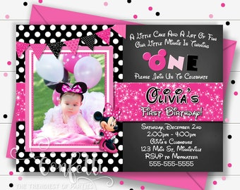 Minnie Mouse Birthday Invitation, Pink and Black Polka Dot Minnie Mouse, Printable Invitations, Pink Polka Dot, Photo, Birthday Party
