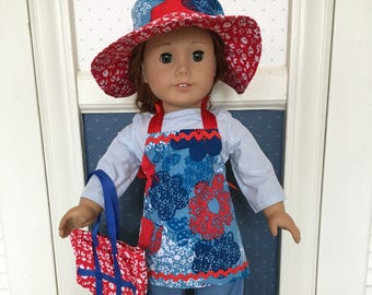 Gardener or cook outfit with apron, hat and bag handmade to fit such dolls as the 18 inch American Girl, Madame Alexander and My Life.