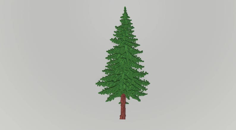 Set of 6 PINE TREES, separate stl files for CNC carving or 3D printing