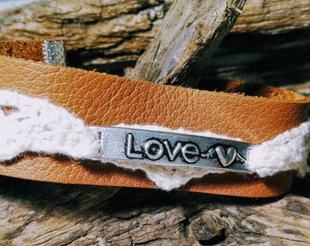 LOVE leather and lace Cuff Bracelet / Bohemian / woman / women jewelry