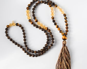 The Guardian Mala, 108 Gemstone Mala Beads, Tigers Eye Bronzite Citrine Mala Necklace, Japa Mala Prayer Beads, Yoga Jewelry