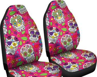 Sugar Skulls Car Seat Covers Pair 2 Front Cover For Protector Bohemian Boho Chic