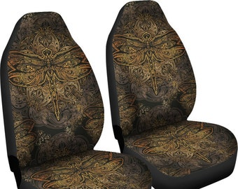 Dragonfly Design Car Seat Covers Pair Cover For Vehicle Protector Bohemian Boho